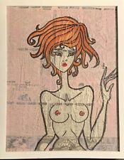 "Texas Artist George Sanchez ""Emico"" 2010 Female Nude ANIME Mixed Media Painting"