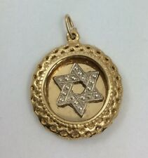 14K TWO TONE YELLOW AND WHITE GOLD STAR OF DAVID PENDANT