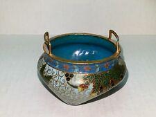 Vintage, Cloisonne, Incense Burner, Flowers & Berries Motif, Light Blue, & Blue