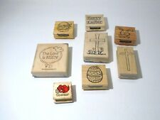 Easter Religious The Lord is Risen Bunny Egg Rubber Stamps Craft lot