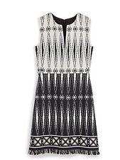 $595 Tory Burch Womens Black-Ivory Tweed Fringe Dress Size 6
