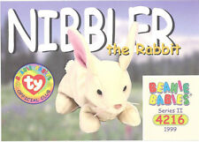 TY Beanie Babies BBOC Card - Series 2 Common - NIBBLER the Rabbit - NM/Mint