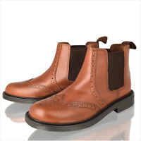 Boys Real Leather Chelsea Dealer Tan Brogue Ankle Boots Kids Shoes size 1-6