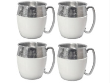 Hammered Moscow Mule Mugs 4-Pc Set in Box White Silver Tone Stainless Steel Cups