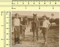 #058 Two Men with Horses Guys Stable Scene vintage photo original old snapshot