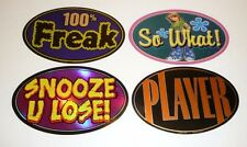 Lot of 4 Stickers from Vending Machines Snooze U Lose Player 100% Freak So What