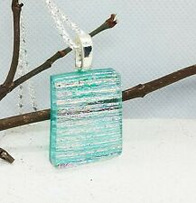 Blue Striped Transparent Dichroic Glass Pendant Necklace, Unique Gift for her