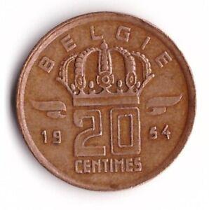 20 Centimes 1954 Belgium Coin KM#147 Dutch Text Belgie