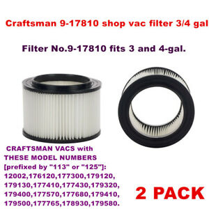 2 PACK Craftsman 9-17810 shop vac filters 3/4 gal vacs made 1988 and after