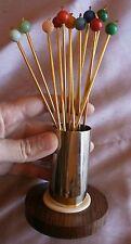 Service 12 Cuillères à punch vintage Métal doré palissandre boules multicolores