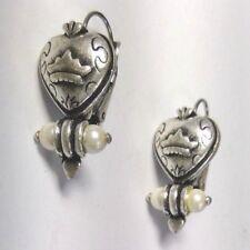 """heart earrings faux pearls crown silver tone metal lever back 1"""" L steampunk"""