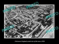 OLD LARGE HISTORIC PHOTO OF FELIXSTOWE ENGLAND, AERIAL VIEW OF THE TOWN c1920