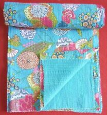 Turquoise Green KING Size Kantha Quilt Cotton Patchwork Handmade quilts Bedsprea