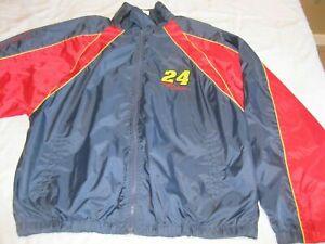 Jeff Gordon #24 Windbreaker Jacket Red Blue Men's Size Large Coat NASCAR Racing