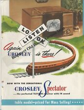 "Nice Folder Advertising a 1947 Crosley ""Spectator"" Table Model Television TV Set"