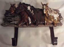 Three Horse Wall Hanger with  Two Hooks for Coat, Hats or Keys