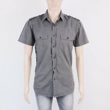 Crafted Mens Size S M Charcoal Grey Micro Stripe Short Sleeve Shirt