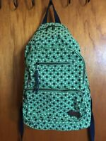 "Vintage Aeropostle Green w/Navy Blue & White Polka Dots Backpack 16"" x 14"" x 6"""
