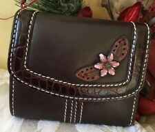 Brighton Chocolate Brown Genuine Leather Small Trifold Wallet Flower Accent