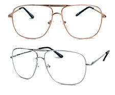 Retro Fashion Brille 80er Jahre Nerdbrille Pilotenbrille Metall Klarglas F20