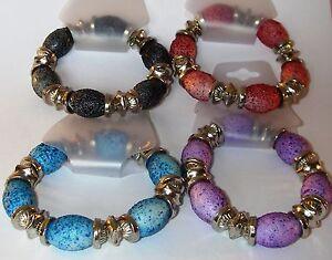 "Speckled Bead Stretch Bracelet Multi Colour Ladies 6.5"" Wristband Friend Bangle"