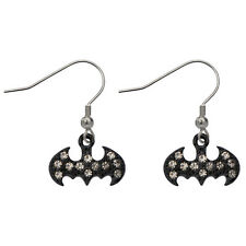 BATMAN JEWEL DANGLE DROP EARRINGS - DC Comics Stainless Steel Jewellery Black