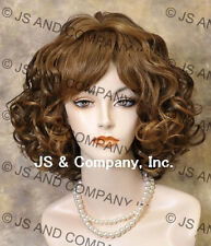 Human Hair Blend Wig  Short Perfect Curly Wavy Strawberry and Brown Mix wig sdra