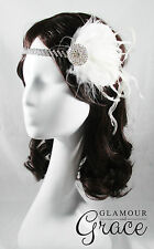 Charleston vintage gatsby 1920s flapper costume ivory feather clip headpiece