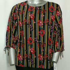Massini Top 1X Women's Black Red Yellow Stripe Floral 3/4 Relaxed Neck Tie Keyho