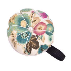 Pumpkin Shape Wrist Cross Stitch Needle Sewing Pin Cushion Button Strap Hol FH