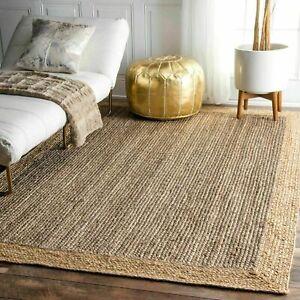 Rug 100% Natural Jute 8x8 Feet Rectangle Braided Floor Mat Handmade Runner Rugs