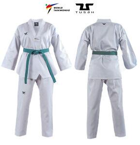 Dobok Basic TUSAH Uniform collo Bianco per Taekwondo OMOLOGATO WT