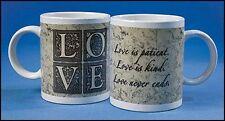 "Love is Patient Love is Kind Mug Ceramic Coffee Cup 4""H 10oz NEW SKU MD085"