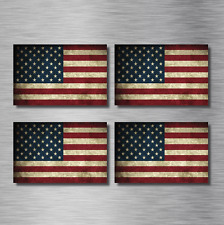(4) Four American Flag Distressed Vinyl Stickers Decals Army USA Vintage NEW! US