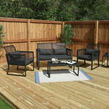 4 PIECE BLACK PATIO GARDEN FURNITURE SET OUTDOOR SEATING TABLE CHAIRS Wido