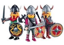 Playmobil 3 Viking Warrior Figures 7677 Army Weapons Shields NEW Lot Custom