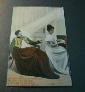 Old Postcards   Girl Playing Music to Wounded Soldier.  PB1