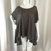 We The Free People Womens Top Oversized High Low Raw Edge Brown Stripe Size XS