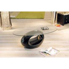 Table basse de salon d´appoint oval design moderne verre securit pied rond NOIR