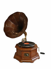 Reproduction Gramophone Player - 78 rpm vinyl phonograph Antique Finish Horn