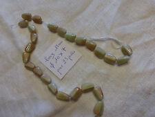 perle vintage, lot de 25 perle berlingot en verre ROSE/VERT/MARRON sur fil