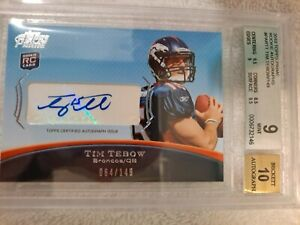 """2010 TIM TEBOW Topps Prime Rookie Auto Beckett Graded """"9/10"""". #'d 064/149 RARE"""