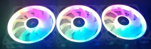 3x Corsair LL120 White 120mm RGB LED PWM Fans w/ Node Pro & RGB Hub (Boxed)
