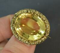 Large Georgian 15 Carat Gold and Citrine Solitaire Brooch