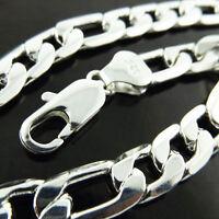 Bracelet Bangle Real 925 Sterling Silver S/F Solid Mens Bling Figaro Heavy Link