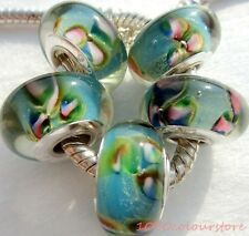5PCS silver hallmarked Single Core Murano Glass Beads fit Charms Bracelet AOC263