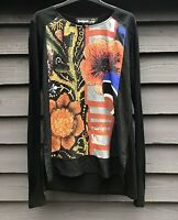 Desigual Black Long Sleeved Top, Poppy Design Front Panel XL UK12-14