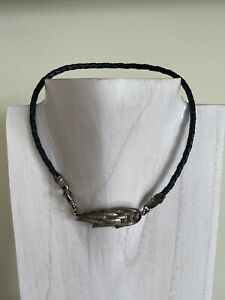 King Baby Braided Leather Chocker Necklace with Sterling Silver Feather Closure
