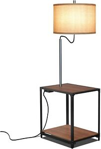 Modern Floor Lamp with Shelves and USB Charging Port Attached Side Table, Walnut