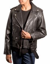 Ladies Black Cowhide Leather Motorbike Brando Biker Fitted Short Belted Jacket
